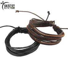 Leather Bracelet Hemp Rope Hand Made Woven Couple Leathers Bracelet 19-24cm Adjustable 3 Pieces 1 Pack ,wholesale(China)
