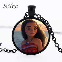 SUTEYI Moana Anime silver glass Necklaces Pendant Round Movie Cartoon Collar Chain Give kid's a Birthday Present Best Wish