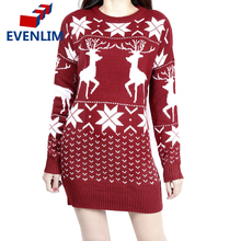 EVENLIM 2017 christmas knitted cashmere sweater dress women warm cute long sleeve ladies sweaters with deers pull femme MY525