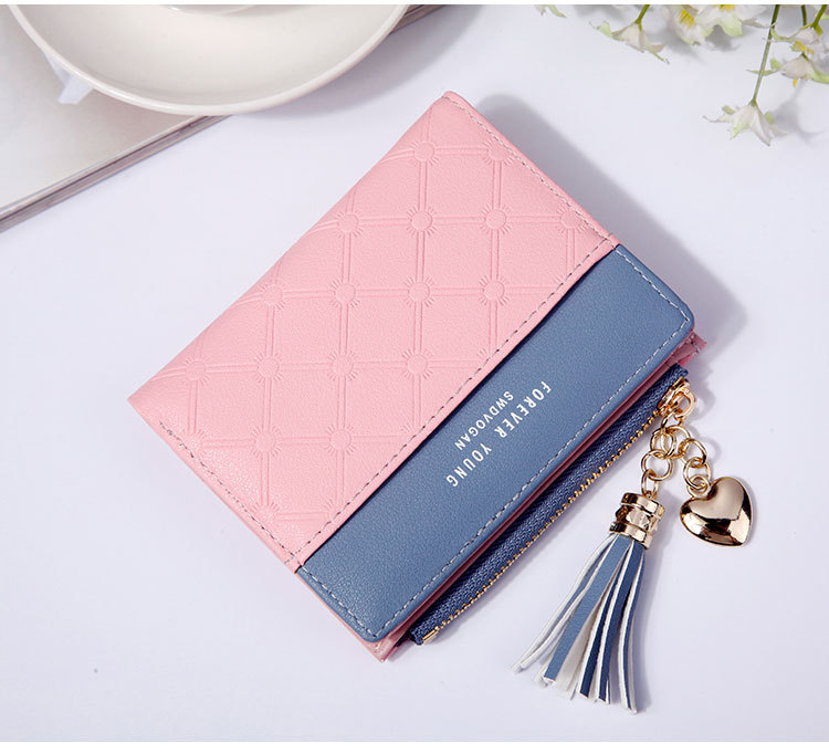 2018 Fashion Ladies Wallet Female Short Zipper Coin Purse Small Wallets Young Womens Tassel Hasp Purses Button Card Holder Pouch 74