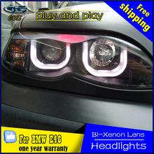 CDX car Styling LED Head Lamp for BMW E46 Headlights 325i 318i LED Headlight U angel eye headlight BI XENON front accesspories