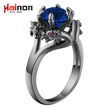 dragon Ring Fashion Black Gold Filled Jewelry Vintage blue CZ crystal engagement Rings For men Birthday Stone rings jewelry(China)