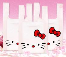 Qi 100pcs/lot Size:18*35+10cm cute hello kitty gift packing bag plastic cartoon vest handle cookies packaging large plastic bags(China)