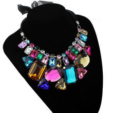 2017 New Vogue Graceful Lady Boho Crystal Rhinestone Beads Choker Bib Pendant Necklace Match Any Fashion Style