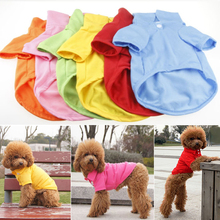 XS S M L XL Size Cute Small Pet Puppy Dog Cat Clothes T-Shirt Polo Shirt Solid Apparel Tee(China)