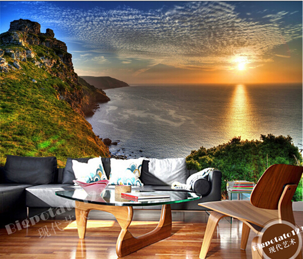 Custom photo wallpaper, Scenery Rivers Sunrises and sunsets Sea for the sitting room bedroom TV wall paper waterproof wallpaper <br>