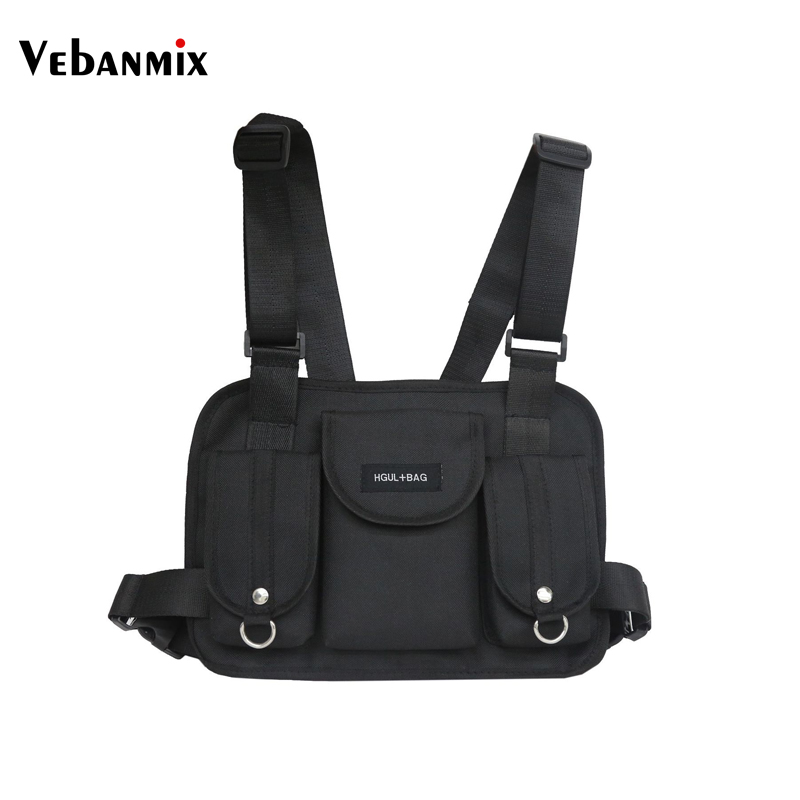 Vebanmix 2018 fashion chest rig waist bag hip hop streetwear functional tactical chest bag cross shoulder bags bolso Kanye West(China)