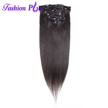 Machine Made Remy Clip-In Hair Extensions Human Hair #1B Straight Hair Clip Ins Extensions Double Drawn Natural Hair Extension(China)