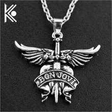 America Bon Jovi rock band necklaces pendants for men women white silver alloy long chain pendant necklace birthday gift(China)