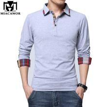 5XL New Men Polo Shirt 2017 Spring Cotton Solid Camisa Polo Full Sleeves Casual Men Camisas Brand Clothing MT557