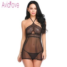 Buy Avidlove 2018 New Lingerie Sexy Hot Erotic Chemise Women Lace Halter Babydoll Dress Nightwear Erotica Sex Intimates Products