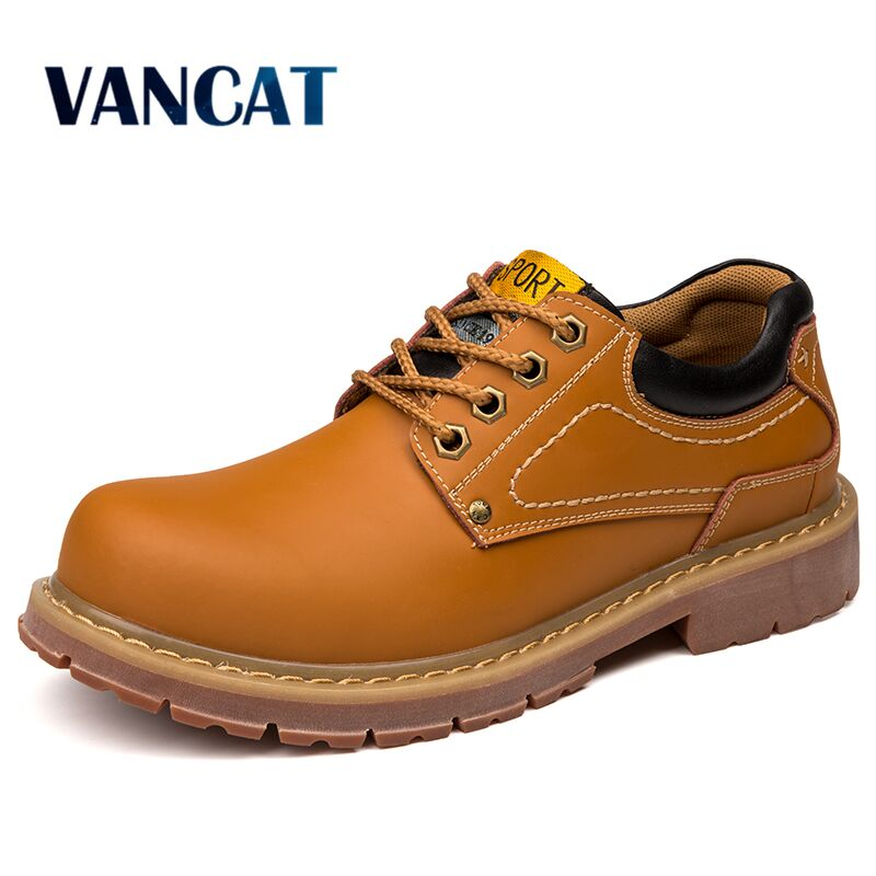 VANCAT Men Derby Dress Shoes Mens Formal Shoes Male Work Sfety Leather Flats British Board Shoes Lace-Up Large Size Footwear<br>