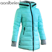 Warm Winter Jackets 2017 Women Fashion Down Cotton Parkas Casual Hooded Long Coat Thickening Parka Zipper Cotton Slim