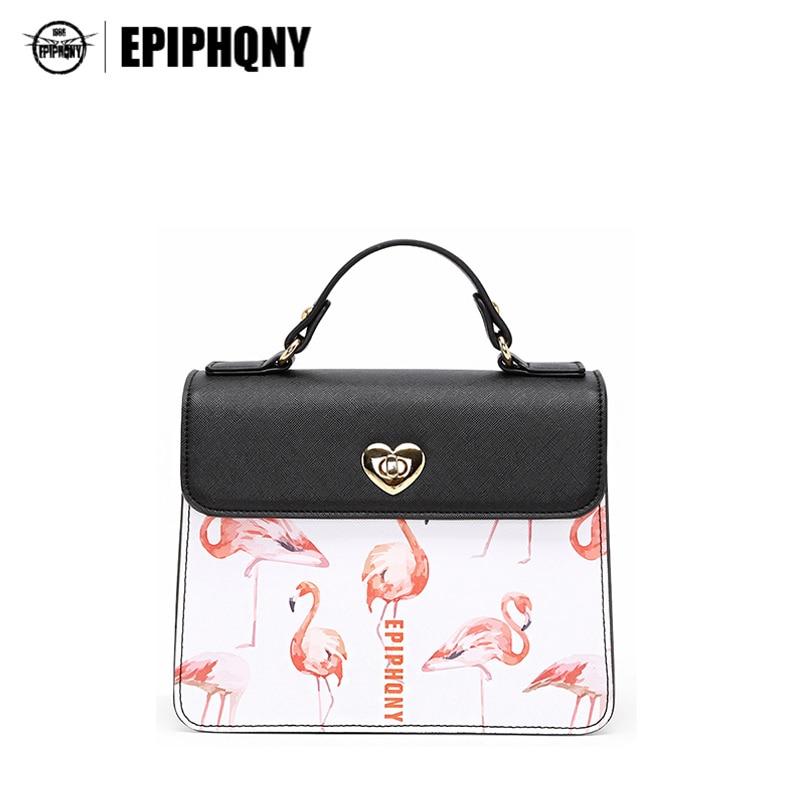 Epiphqny Famous Women Brand Flamingo Design Handbags Animal Printing Pattern Shoulder Bag for Lady PU Small High Quality<br>