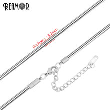 REAMOR 5pcs/lot 316l Stainless Steel Snake Chain Necklace With Extended Chain Women Men Jewelry Fit Big Hole Beads Accessories