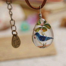 Flyleaf Handmade colar Vintage Jewelry Double Glazed Blue Bird Leather Chain necklaces & pendants Women 2015 retro accessories