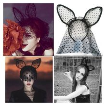 2017 Hot Sale Sexy Black Dot Cat Ears Lace Gauze Veil Hair Mask Headband Headdress Night Club Hair Band Accessories(China)