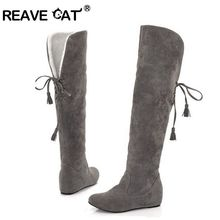REAVE CAT Fashion snow boots fashion winter back lace up knee high boots for women drop shipping flock Warm Winter shoes