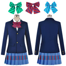 Hot Sale New School Uniform Anime Love Live Cosplay Costumes Halloween Party Jacket+Skirt + three Bow Tie(China)