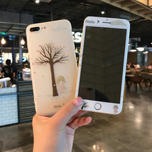 Relief Phone Bag Cases For iPhone 7 7 Plus 6 6S Plus Silicone Cover Case Tree Bus Fundas For  iPhone 7 Plus Case With Glass Film