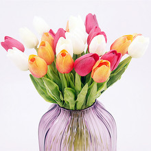 Floace 21pcs/lot, PU single small silk tulip artificial simulation flowers for house adornment decoration by arranging art(China)
