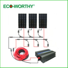 Large USA style COMPLETE KIT:450w 3*150w mono solar panel system with 500W 12v/120v grid tie invertor