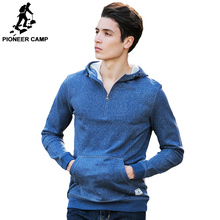 Pioneer Camp Fashion 100% cotton High Quality Hoodies Men brand clothing Casual Male Hoody Zipper Long sleeved Sweatshirt 622031