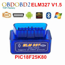 ELM327 Auto Scanner ELM 327 Bluetooth OBD2 For Android Torque OBDII Car Vehicle V1.5 With PIC18F25K80 Chip Scan Diagnostic Tool