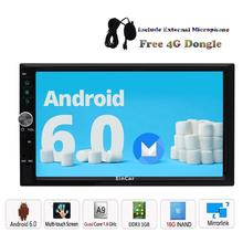 free 4G dongle Android 6.0 Car Radio Stereo Head Unit Double 2 Din Android Radio Auto GPS Navigation WiFi 1080P with free 4G