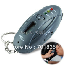 New 3 LED Keychain Breath Alcohol tester breathalyzer with clock, Free shipping!