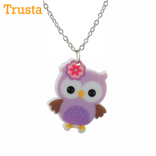 "Trusta 2017 Fashion Hot Jewelry Girls 16"" Chain Purple Owl Necklace Gift for Kids Child Drop Shipping KS25 Good Quality Cartoon(China)"