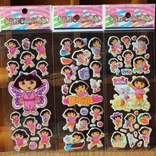 % 10 pcs/Lot 3D Dora princess Kids Stickers Toys Bubble stickers Teacher Lovely Reward Stickers For Girls/Boys Birthday Gift(China)