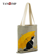 TANGIMP Handbags for Laptop Cat with Yellow Umbrella Cotton Grocery Shopping Tote Women Eco Reusable Tote Beach Bags Bookbags(China)