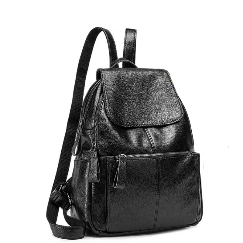 2017 New arrival genuine leather backpack Preppy Style soft travel bag Solid Women Students School Bag Girls Casual Back Packs <br><br>Aliexpress