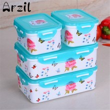 Lunch Box Bento 4Pcs/set Food Container for Kids School Japanese Style Plastic School Picnic Lunch Box Dinnerware Sets