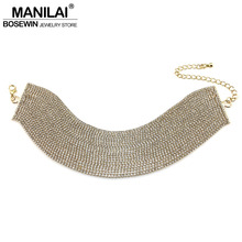 Buy MANILAI Luxury Rhinestones Chokers Necklaces Women Fashion Layered Collar Maxi Necklace Statement Jewelry Wedding Bijoux for $8.79 in AliExpress store