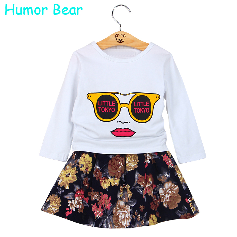 Humor Bear Autumn Girls Clothing Sets Glasses Printing 2Pcs/Set( Long Sleeve+ Flowers Skirt ) Casual Set Girls Clothes Kids Suit<br><br>Aliexpress