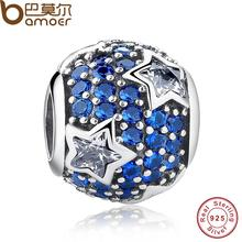 925 Sterling Silver Follow The Stars Charm Fit Original Bracelet With Blue Cubic Zirconia Midnight PAS072(China)