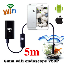 Wifi Endoscope 8mm 1m 3m HD720P Borescope Waterproof Wi-fi Camera Android iOS Phone Inspection Endoscopy Soft Cable Surveillance(China)