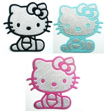 Pink & Black & blue Silvery Hello Kitty Iron On Patches Clothes Shirt Hat Jean shoe Pet Clothing Fashion Gifts(China)