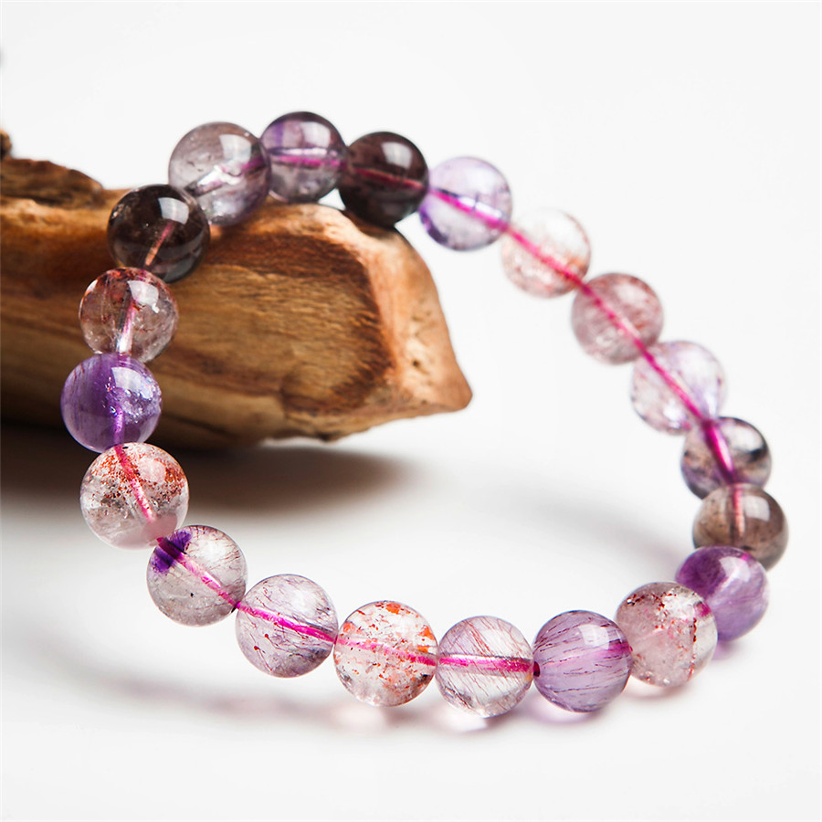 9mm Genuine Brazilian Purple Hair Rutilated Quartz Super Seven 7 Crystal Melody Stone Charm Stretch Bracelets For Women Femme