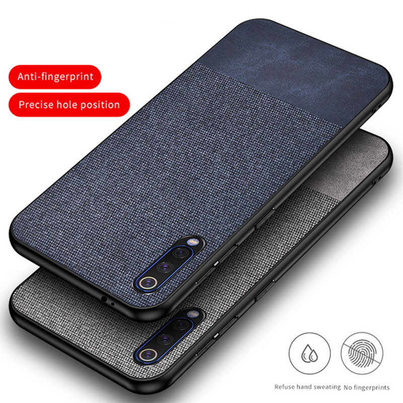 For Xiaomi mi 9 Case Luxury Fabric Cloth Hard PC Shockproof Armor Back Cover Case For Xiaomi mi9 mi 9 SE Fundas Shell Shockproof(China)