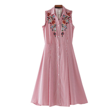 Summer flowers embroidered dress female striped shirt Lapel back engraved  sleeve without air laminated decoration