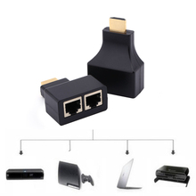 High Quality 1 piece HDMI Over RJ45 CAT5e CAT6 UTP LAN Ethernet Balun Extender Repeater 1080p 3D HDMI Adapter