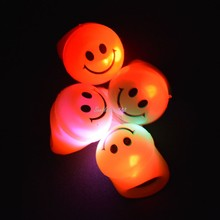 Kids Adult Cool LED Flashing Light Smile Finger Rings Blinking Party Soft Light Up Rave Glow Jelly Finger Ring Party Supplies(China)