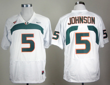 Nike Men's Miami Hurricanes Andre Johnson 5 White College Ice Hockey Jerseys S,M,L,XL,XXL,3XL(China)
