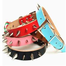 Dog Collar Spiked Pitbull Collar PU Leather Necklace Pet Product Rivet Collar Red Black Blue Pink Brown(China)