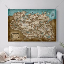 Eric and May Skyrim Map Artwork Posters and Prints Canvas Art  Painting  Wall Pictures For Living Room  Home Decor   No Frame