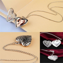 KISS WIFE New design high quality fashion Open silver photo frame jewelry Gold Hollow out heart Locket Pendant Necklace(China)