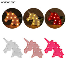 3D Marquee Unicorn Table Lamp 10 LED Battery Operated Night Light Children's Room Decor